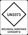 Advarselsdiamant hvori der står UN3373, Biological Substance Catergory B